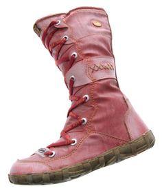 Leder Stiefel TMA Damen Winter Schuhe gefüttert Rot Kniehohe Damenstiefel used look Gr. 40