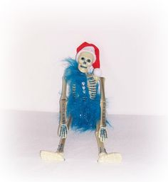 Blue Eerie Santa Skeleton Doll Day Of The Dead Santa Skull Head Skeleton Doll EerieBeth Skellie Art Doll ICreateAndCollect Goth Punk Doll by ICreateAndCollect on Etsy