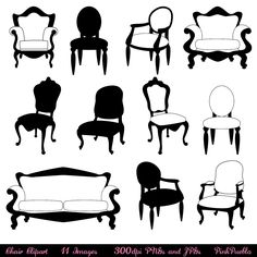 Chair Clip Art Clipart, Chair Silhouettes, Furniture Clip Art Clipart, Decor…