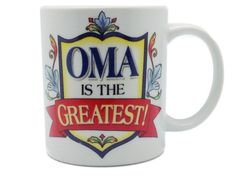 """Oma Greatest 3 Graphic Mug. A great gift for Oma featuring multiple pieces of artwork around the mug as well as small pieces of artwork on the handle (""""I Love Opa"""") and the inside of the mug (Oma Artw"""