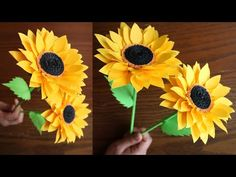 How to make beautiful paper sunflowers using bond paper/printer paper, Easy to make, and can turn your home more bea. Paper Sunflowers, Tissue Paper Flowers, Paper Roses, Diy Flowers, Flower Diy, Sunflower Crafts, Paper Flower Tutorial, Tutu Tutorial, Paper Crafts Origami