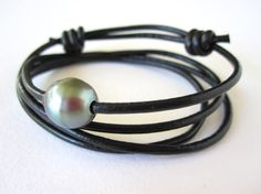 TAHITIAN Pearl LEATHER Wrap Bracelet / Choker Necklace - South Sea Pearl Triple Leather Boho Wrap - One Size Fits all w/ Sliding Knot - USA