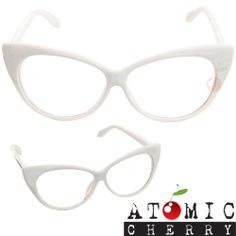 50's Cat Eye Clear Glasses White Retro Rockabilly Pin Up Pointed Costume Grease