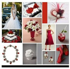 Wedding mood board, on a red/white/black theme. Inspired by David's bridal & BHLDN
