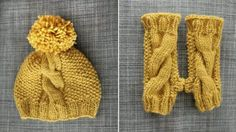 Cable beanie & fingerless gloves