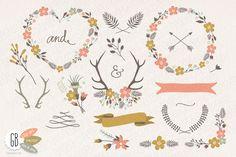 Folk flower wreaths heart cream by GrafikBoutique on @creativemarket