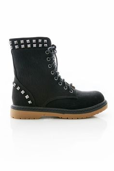 Edgy vegan leather boot with studding details around the ankle and at the  heel. Traditional lacing up the H of Boots True to Size c1607f2d3