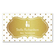 Nail Technician Manicurist - Chic White Gold Dots Double-Sided Standard Business Cards (Pack Of 100). This is a fully customizable business card and available on several paper types for your needs. You can upload your own image or use the image as is. Just click this template to get started!