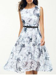 Elegant Jewel Neck Sleeveless Floral Belted Dress For Women