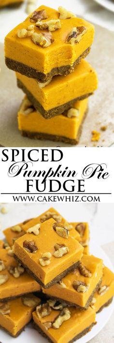 Easy pumpkin pie fudge with gingersnap crust and walnut topping. Easy to make with lots of white chocolate and pumpkin spice. Best dessert for Fall and Thanksgiving. {Ad} From cakewhiz.com.