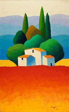 Risultati immagini per sveta esser acrylic paintings Landscape Illustration, Landscape Art, Landscape Paintings, Frida Art, Acrilic Paintings, Summer Painting, Naive Art, Painting Inspiration, Creative Art