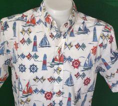 Vintage Reyn Spooner Shirt LARGE Hawaiian Reverse Print Nautical Flags Sailboat