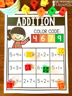 Addition and Subtraction centers for little learners. Perfect for Kindergarten and grade. Just print and add snap cubes. Students solve the equations and use the color code at the top to show their answer. Subtraction Activities, Kindergarten Math Activities, Teaching Math, Kindergarten Class, Elementary Math, Teaching Resources, Preschool, Addition And Subtraction Practice, Math Fact Practice