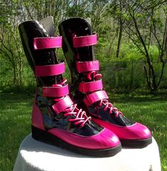 e7e075c589d9 RD Wrestling Boots --Pink and Black straps Boots--
