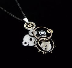 necklace asymmetrical coppertronic gears jewelry pendant steampunk upcycled art <3