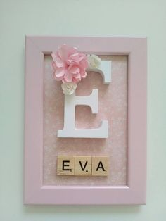 pretty pink decorative frame of It can be hanging on the wall or simply . White Paper Flowers, Deco Rose, Wedding Letters, Scrabble Letters, Creation Deco, Types Of Lettering, Welcome Baby, Letter Art, Letters And Numbers