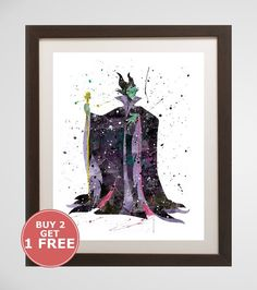 Hey, I found this really awesome Etsy listing at https://www.etsy.com/listing/281660486/maleficent-watercolor-home-arts-decor
