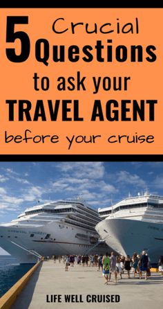 If you're thinking of booking a cruise, and wondering if you should use a travel agent, here are 5 crucial questions you need to ask. Avoid potential problems and issues with your cruise reservation by knowing what to look for and watch out for. Best Cruise, Cruise Port, Cruise Tips, Cruise Vacation, Cruise Travel Agent, Cruise Ship Reviews, How To Book A Cruise, Caribbean Cruise