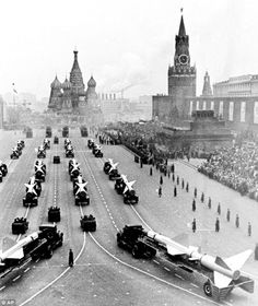 Height of the Cold War: A long line of Soviet Army rockets move into Moscow's Red Square towards St Basil's Cathedral during a parade marking the 46th anniversary of the Bolshevik Revolution in Russia in 1963