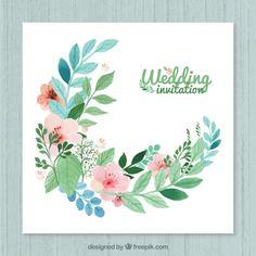 Invitación floral de boda Vector Gratis