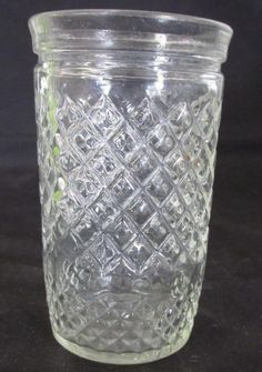 Small Vintage Jelly Jar Juice Glass with Quilted Design, Collectible... EBay for $6.00..... found four @ $1.00 each