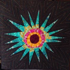 Alison Glads mini swap 2015. Paper pieced and hand quilted. Front side.