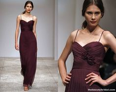 Amsale Bridesmaid Cranberry colored Dress