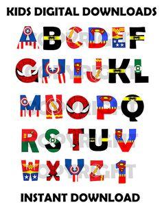 Superhero Font Alphabet superhero por KidsDigitalDownloads en Etsy