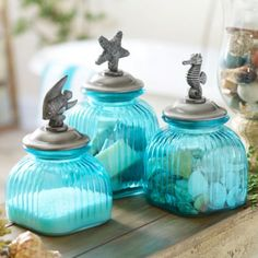 Bathroom Canister Set Amusing Coastal Glass Jar Set Of 3  Coastal Jar And Glass Inspiration