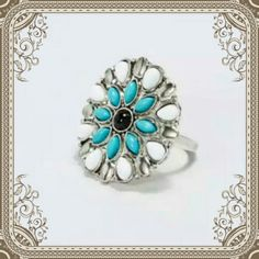"""🆕✨2XHP✨SILVER STATEMENT TURQUOISE FLORAL RING (SIZE 6 LEFT)TOTAL BOHO CHIC STYLE  RING. FLOWER SHAPE FEATURING MINI TURQUOISE  , WHITE & BLACK SOLID GEMS.  THE  CENTERPIECE  IS APPX 1.75""""  IN DIAMETER. THESE ARE NON STRETCH ,  SUPER CUTE TO MIX AND MATCH, OR WEAR ALONE. . (WILL COME BNWOT ) ( L9 ✨HP BEST IN JEWELRY & ACCESSORIES 1/16/16✨❤Special thanks to  @diane65202 ❤go check out her beautiful closet❤ ✨HP GIRLY GIRL 3/11/16✨❤ @wendymelody(BUNDLE 3 ITEMS GET 25 % OFF ) BOTIQUE  Jewelry…"""