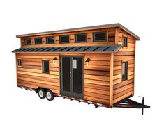 "Cider Box Tiny House Plans$199.00 – $234.00The Cider Box Tiny House is a great design for couples and small families because it can accommodate two separate sleeping lofts, a full kitchen, and space for laundry.The non-traditional ""double shed"" roof line adds more space, dimension and intrigue, and clears the way for light to stream in through strategically placed clerestory windows, optional skylights, and full glass doors. The main loft is accessed with stairs that can contain storage com"