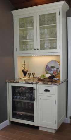 Turn Kitchen Desk Into A Wine Bar Or Coffee Also Use Our Existing Fridge