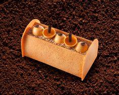"""Bûche Empereur"" with coffee and mandarine orange, Moka Sidamo coffee cream, and Périgord walnut cream on a chewy walnut cookie base. Source: Pain de Sucre (32€ for 4 people; 48€ for 6 people; 64€ for 8 people)."