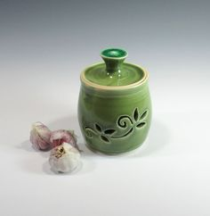 Garlic Jar Shallot Keeper Canister Kitchen Storage by GlyntPottery