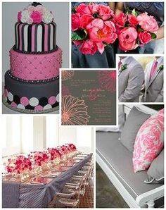 Hot pink gray wedding