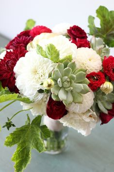 www.floretcadet.com  Bouquet of dahlias, succulents, ranunculus, geranium leaves and kale