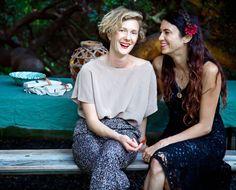 Rachel Craven of Rachel Craven Textiles (left) wearing JSN Vintage pants (with Shiva Rose, right)