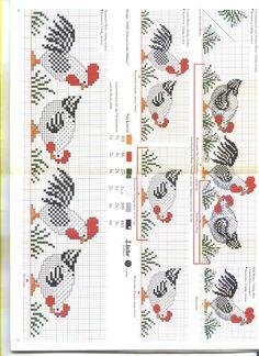 Chicken Cross Stitch, Cross Stitch Bird, Cross Stitch Borders, Cross Stitch Animals, Cross Stitch Charts, Cross Stitch Designs, Cross Stitching, Cross Stitch Embroidery, Embroidery Patterns