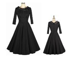 Vintage  long sleeves / small lapel collar /mad men black rose swing dress 20130063