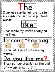 Writing Checklist for Beginning Writers.  A checklist to help beginning writers remember to: - Use capital letters - Write neatly - Leave spaces between words - Use ending punctuation