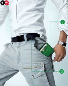 Sleek White Fitted Shirt by SaturdaysNYC. Sick GreenGreen Wallet by Valextra, still on the fence about Michel Bastian's Front Cargo, but who doesn't love a Rolex? Fashion Degrees, Saturdays Nyc, Mens Fashion, Fashion Tips, Fashion Wear, Dress Codes, Gq, Formal, Style Icons