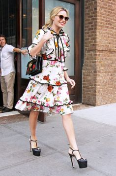 Steal Her Celeb Style | Margot Robbie in white floral tier dress | The Luxe Lookbook