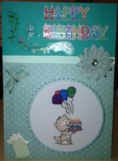 My cross stitch card made for a friends birthday.