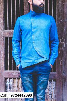 Their already exhaustive range of men's wear collection. Indian Men Fashion, Mens Fashion Wear, Mens Designer Shirts, Designer Clothes For Men, Boys Kurta Design, Kurta Men, Kurta Designs, Cool Shirts, Shirt Style