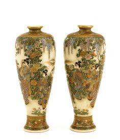 2 Meiji Japanese Satsuma Vase Geisha Child Mk