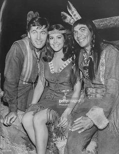 "Fess Parker (Daniel Boone), Brenda Benét (Princess Little Fawn), and Ed Ames (Mingo) on the set of ""Daniel Boone"" episode ""The Matchmaker"", October 1966"