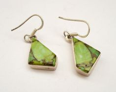 Vintage sterling silver earrings with green by zuzuJewelry on Etsy