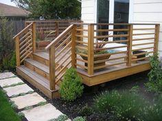 horizontal deck railing design design ideas from deckrative Horizontal Deck Railings Horizontal Deck Railing, Wood Deck Railing, Deck Railing Design, Patio Deck Designs, Deck Railing Ideas Diy, Small Deck Designs, Porch Ideas, Small Decks, Railings For Decks