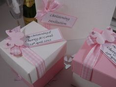 Pink and white square box with lid butterfly Christening Favours for Twin girls
