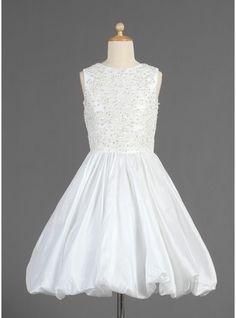 A-Line Princess Scoop Neck Tea-Length Ruffle Lace Beading Sequins Zipper Up  Regular Straps Sleeveless No Ivory General Taffeta Flower Girl Dress e0bd99ae37bb